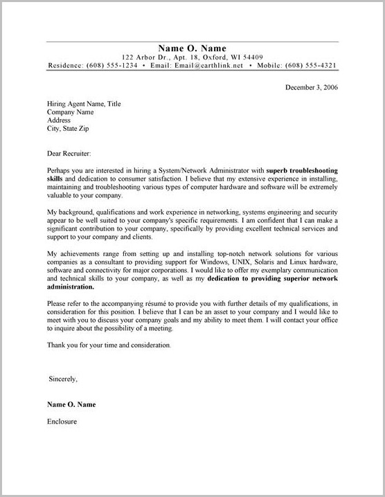 Samples Of Cv Cover Letters