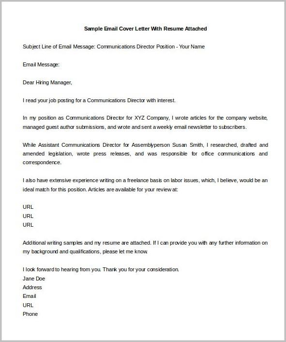 Samples Of Resume Cover Letters By Email