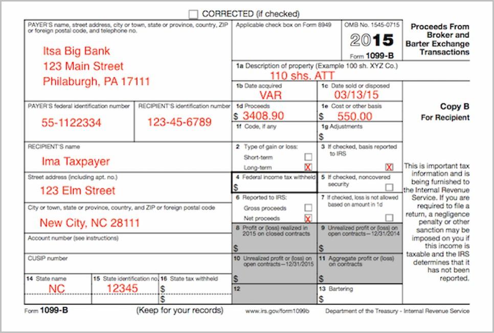 Tax Form 1099 B