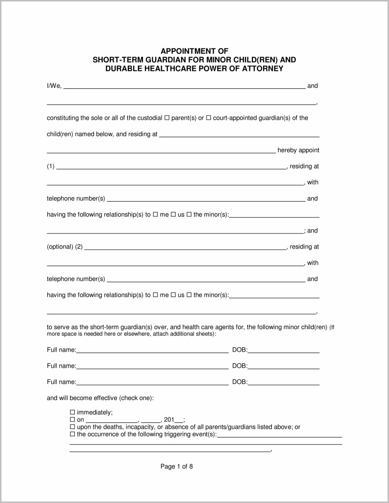 Temporary Guardianship Form Michigan