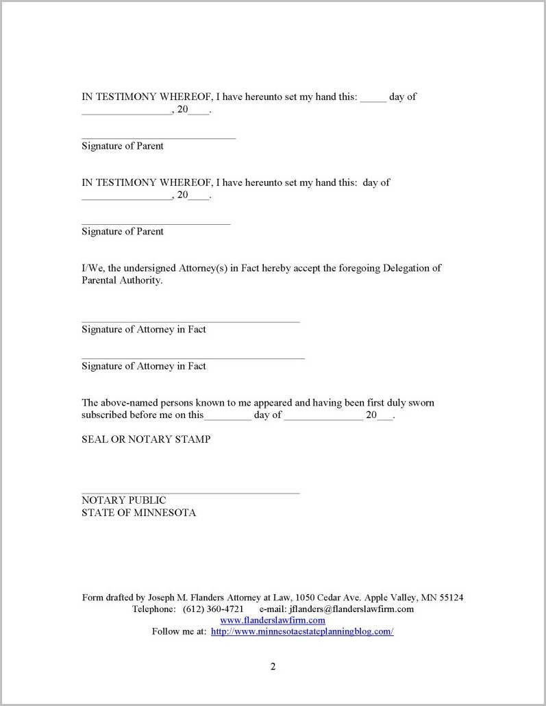 Temporary Guardianship Form Mn