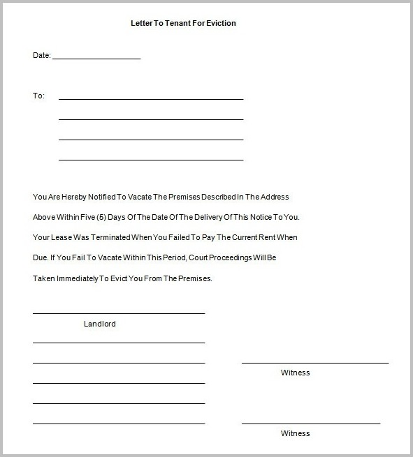 Tenancy Eviction Notice Template
