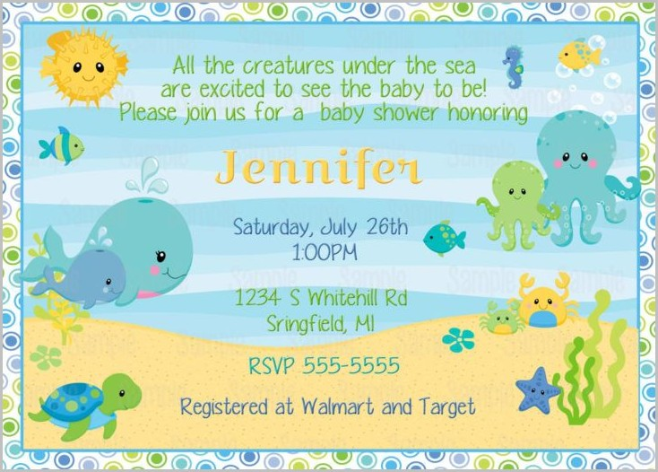 Under The Sea Baby Shower Invitation Template