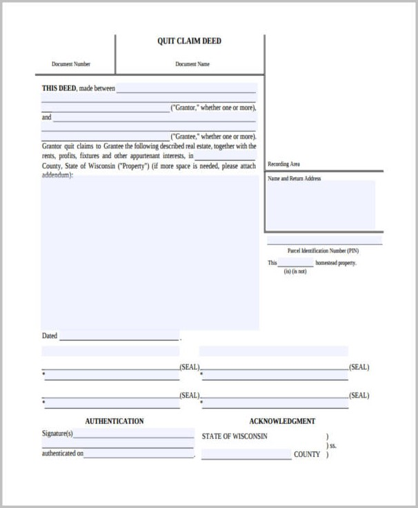 Wi Quit Claim Deed Form