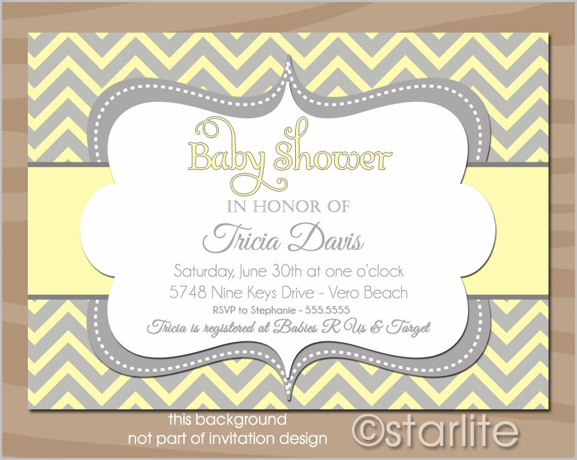 Yellow And Grey Baby Shower Invitation Template