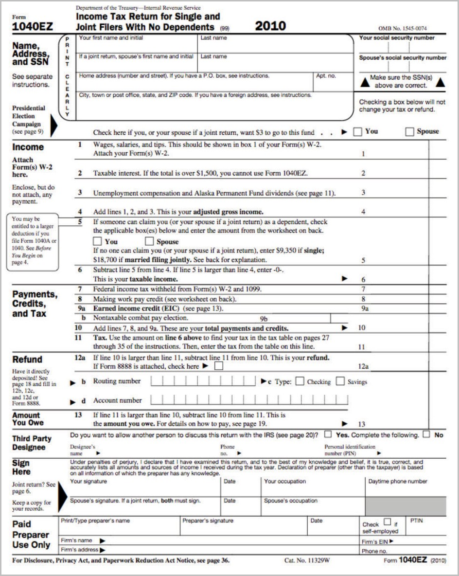 1040ez Tax Return Form 2015