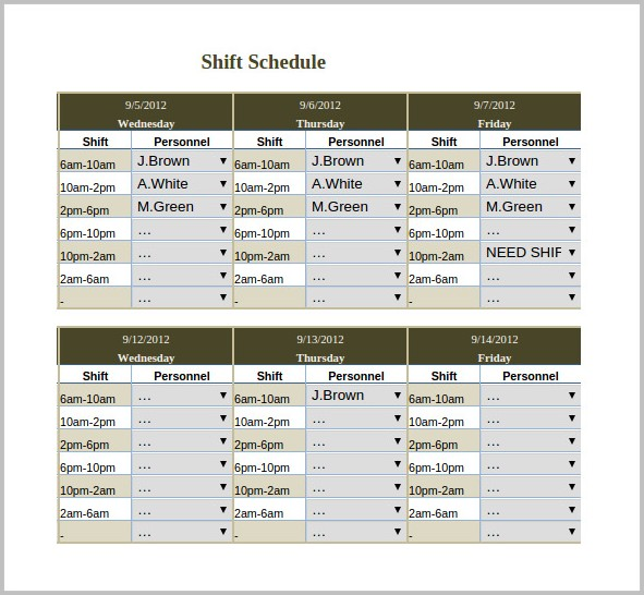 3 Shift Work Schedule Template