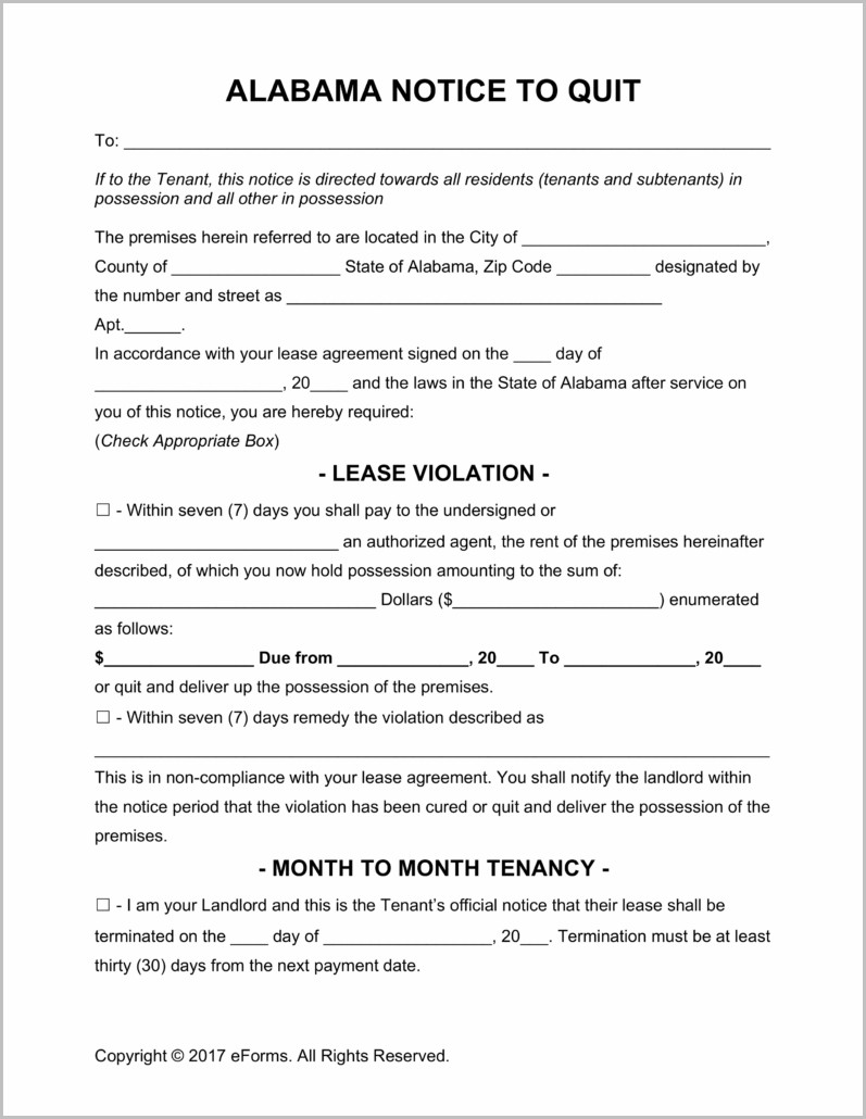 Alabama Notice Of Eviction Form