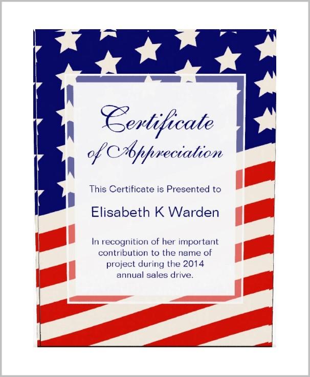 American Legion Certificate Of Appreciation Template