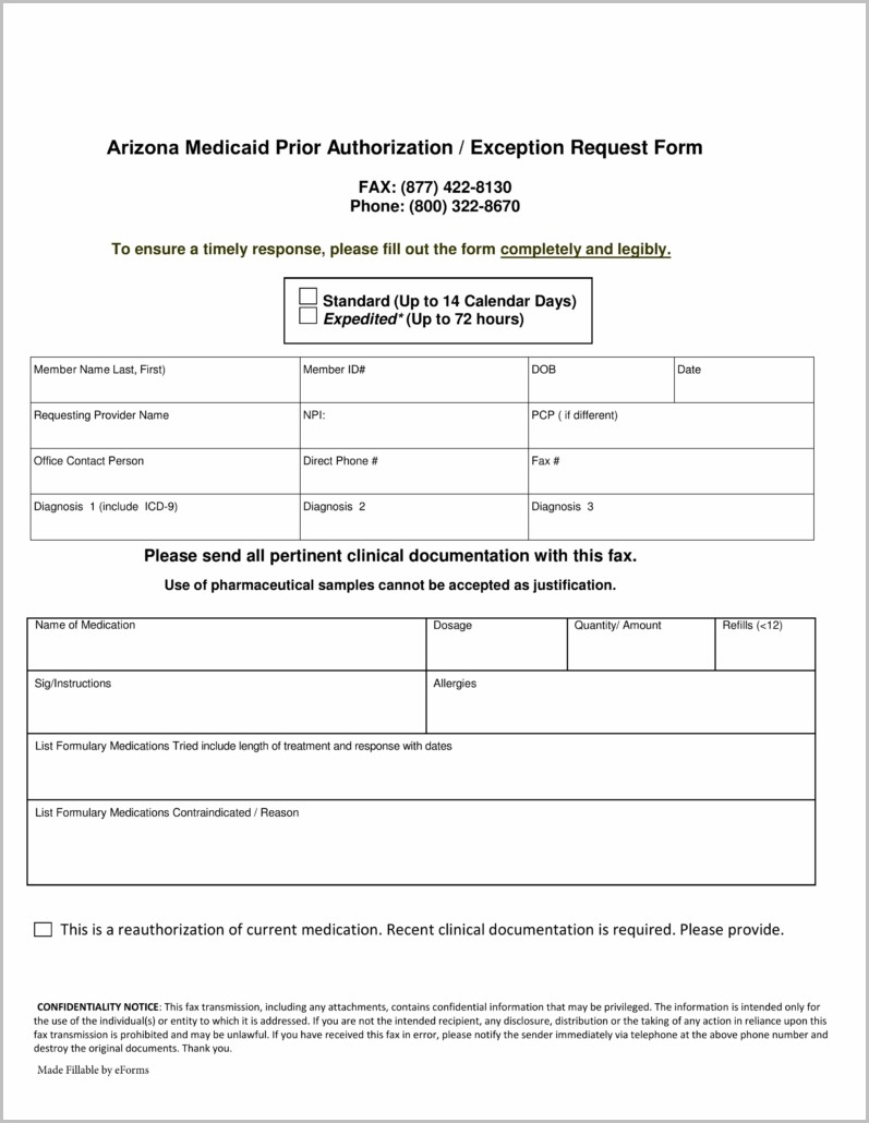 Arizona Medicaid Application Form