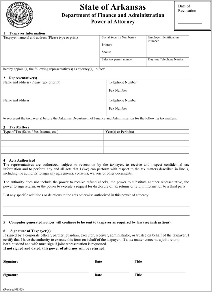 The Arkansas Tax Power Of Attorney Form Can Help You Make A With Arkansas Tax Forms