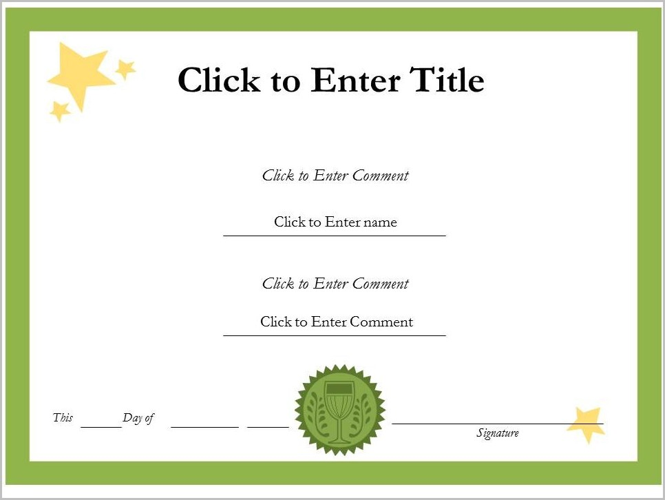 Award Certificate Template Word Free