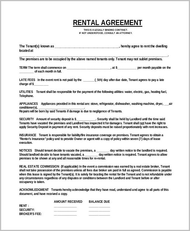 Basic Lease Agreement Template Word