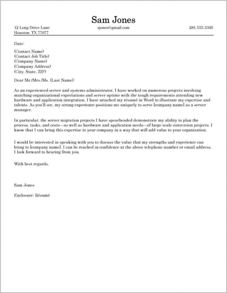 Best Cover Letter Samples For Resumes