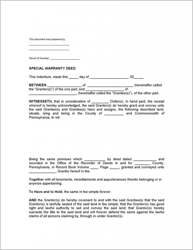 Blank Warranty Deed Form Arkansas