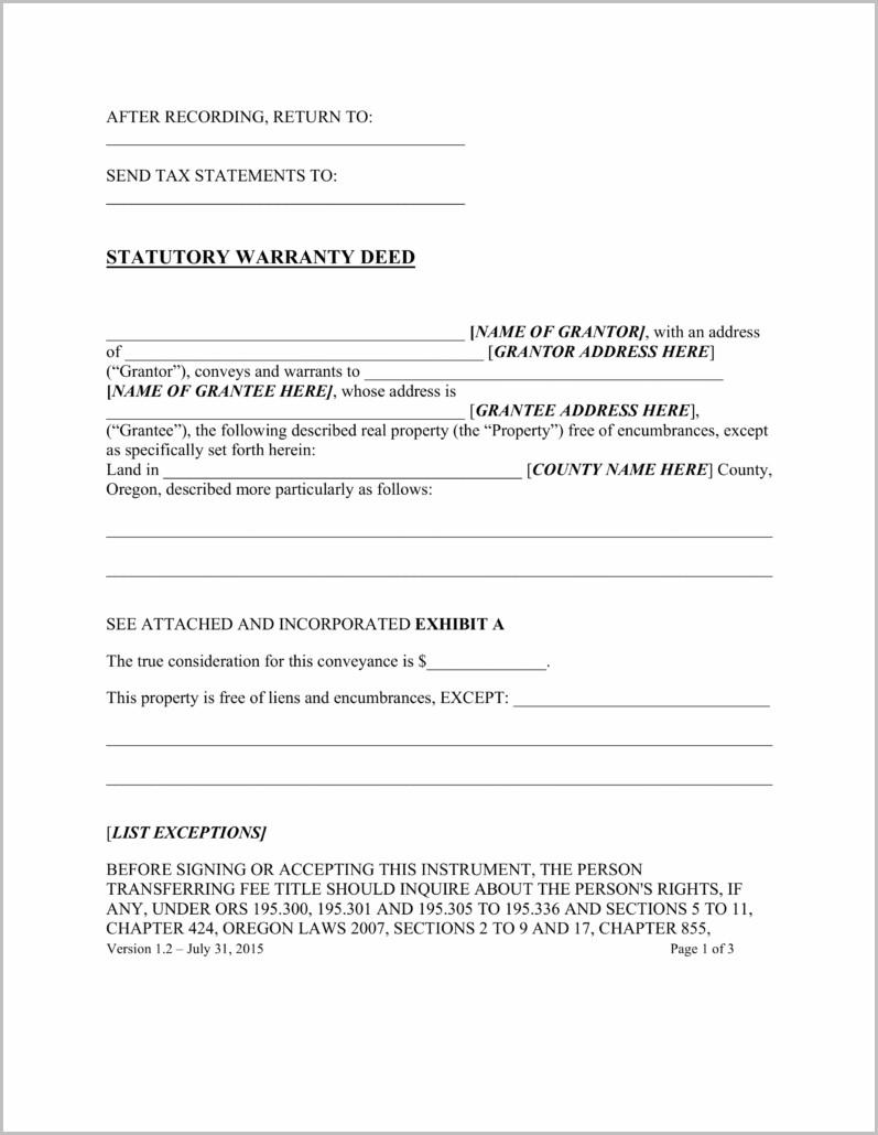 Blank Warranty Deed Form Ohio