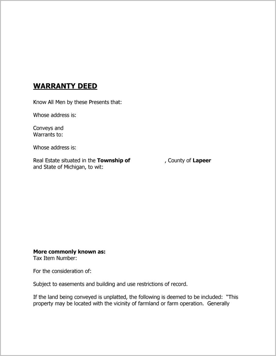 Blank Warranty Deed Form Tennessee'