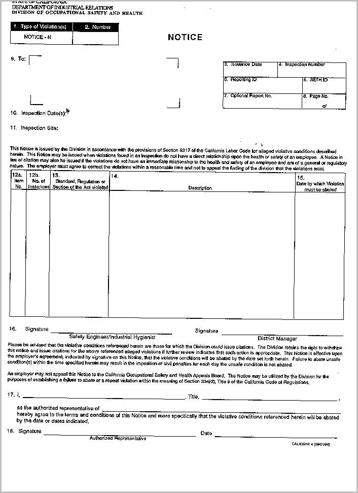 Cal Osha Form 300a (rev. 7.2007)