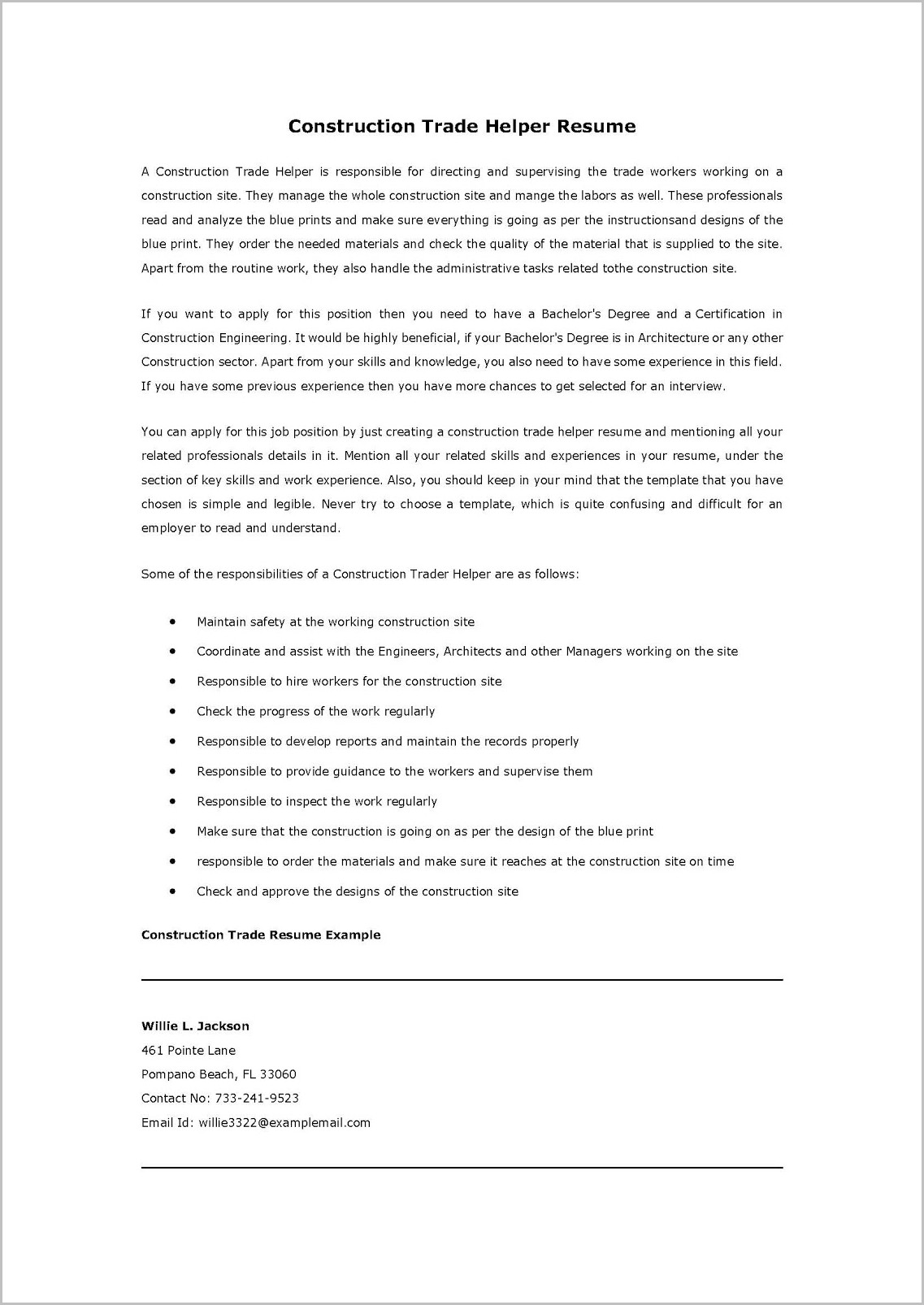Caregiver Sample Cover Letter