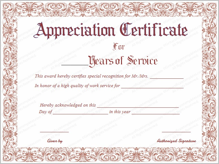Certificate Of Appreciation For Years Of Service Template