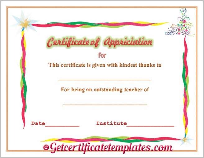 Certificate Of Appreciation Sample For Teachers