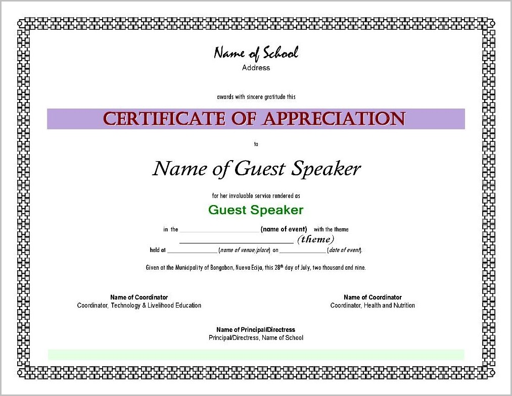 Certificate Of Appreciation Sample Wordings For Guest Speaker