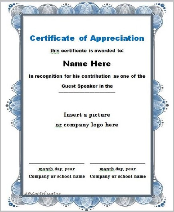 Certificate Of Appreciation Speaker Template