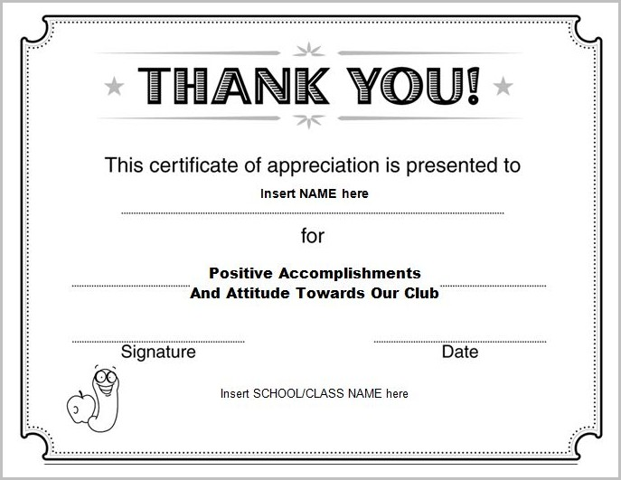Certificate Of Appreciation Template Free
