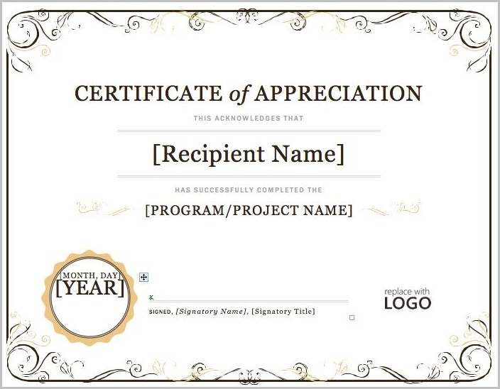 Certificate Of Appreciation Template Microsoft Word