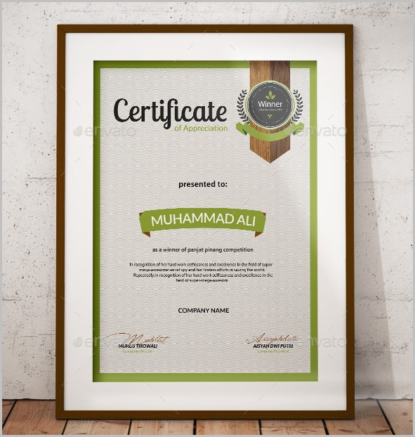 Certificate Of Appreciation Template Psd