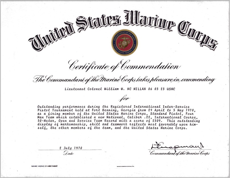 Certificate Of Commendation Template Usmc