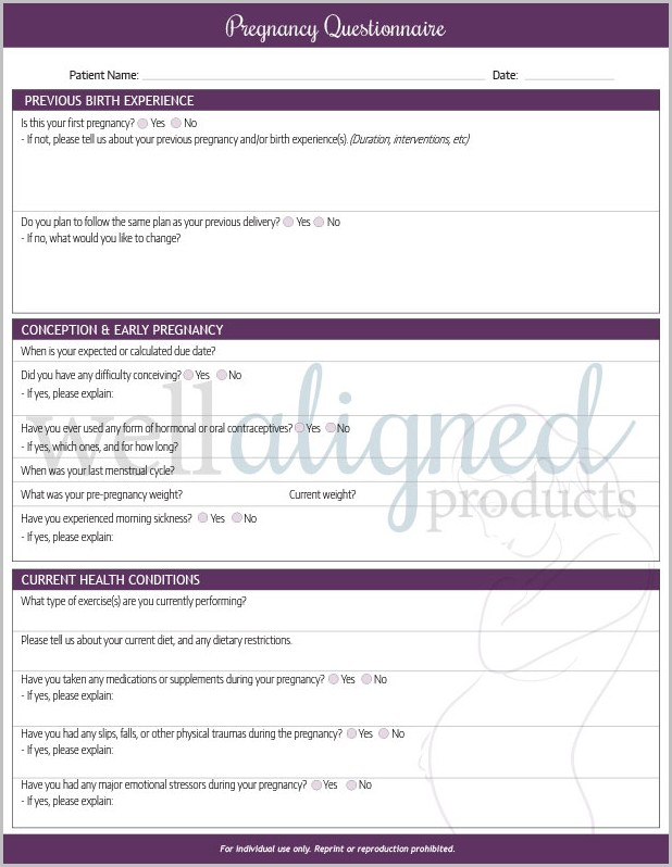 Chiropractic Pregnancy Intake Form