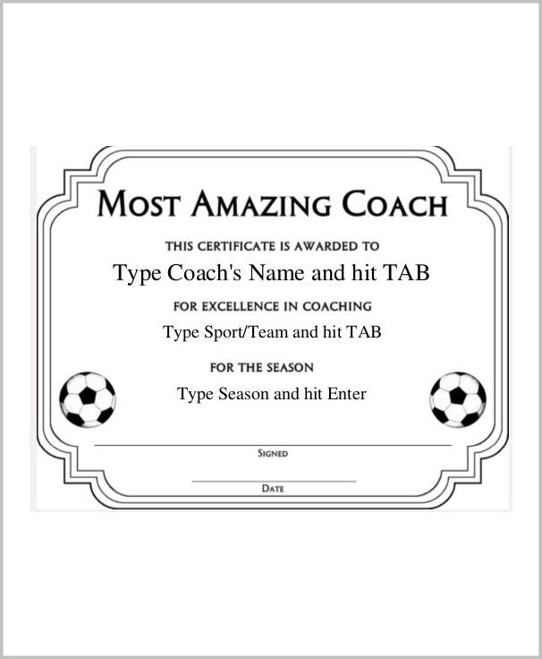 Coach Certificate Of Appreciation Template