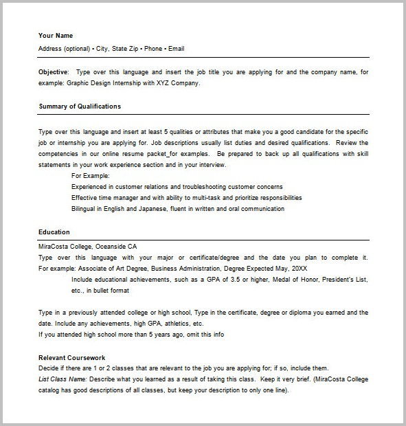 Combination Resume Template For Word