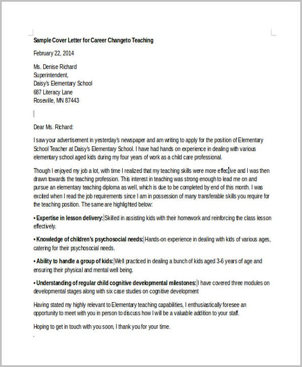 Cover Letter Example For Career Change To Teaching