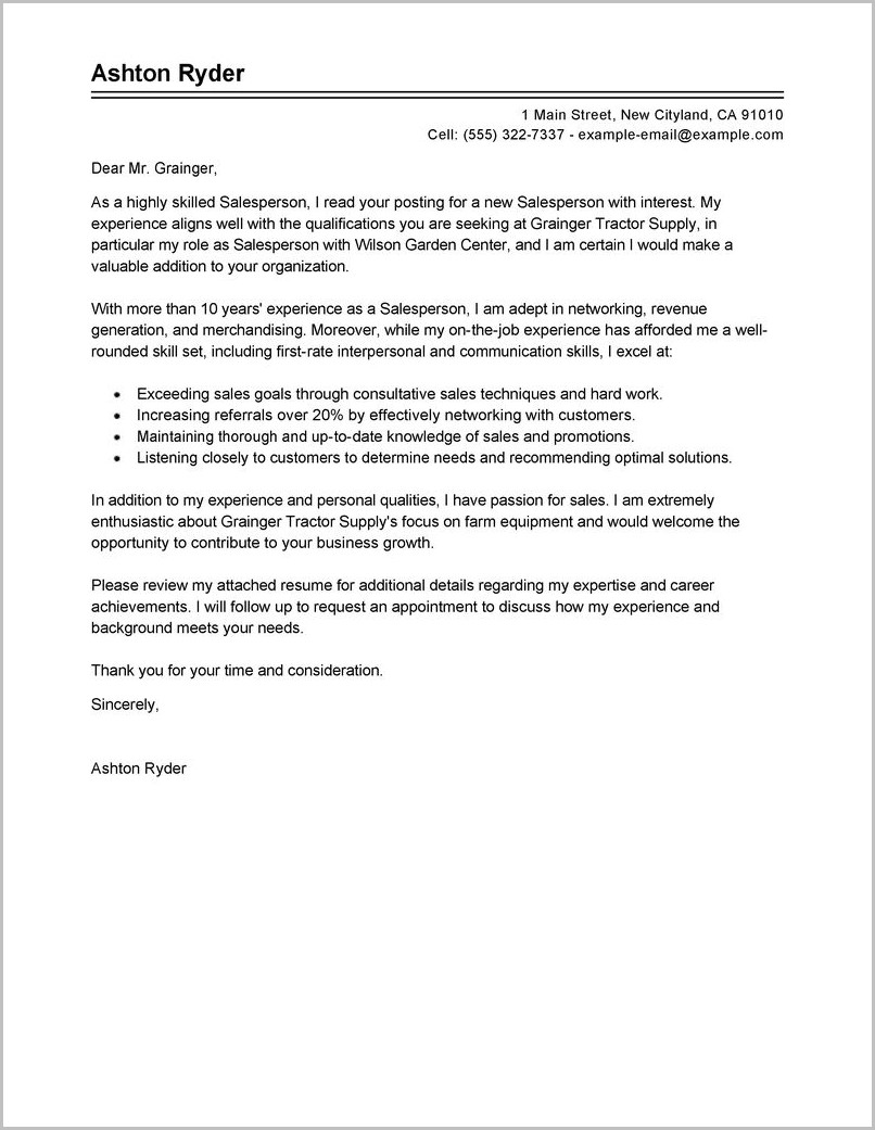 Cover Letter Examples For Job Shadowing