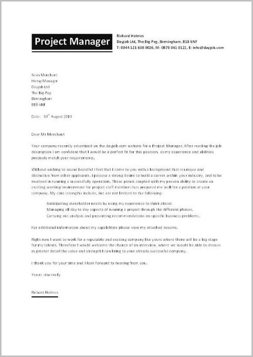 Cover Letter Examples For Resume Project Manager