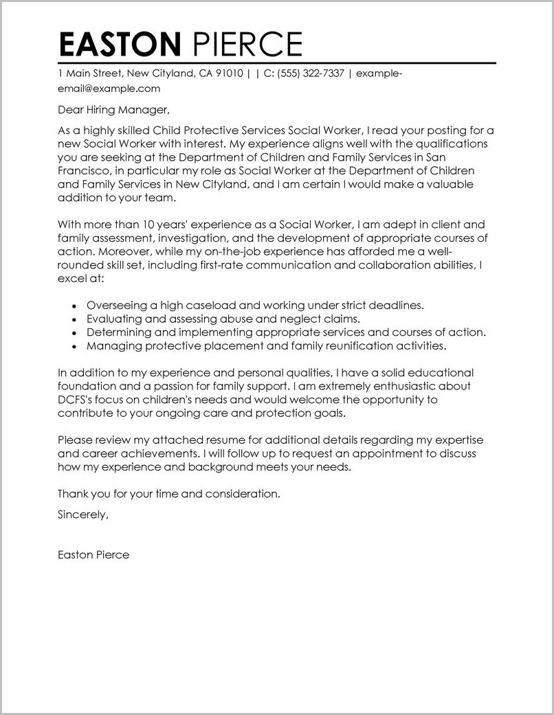 Cover Letter Examples For Resume Social Work