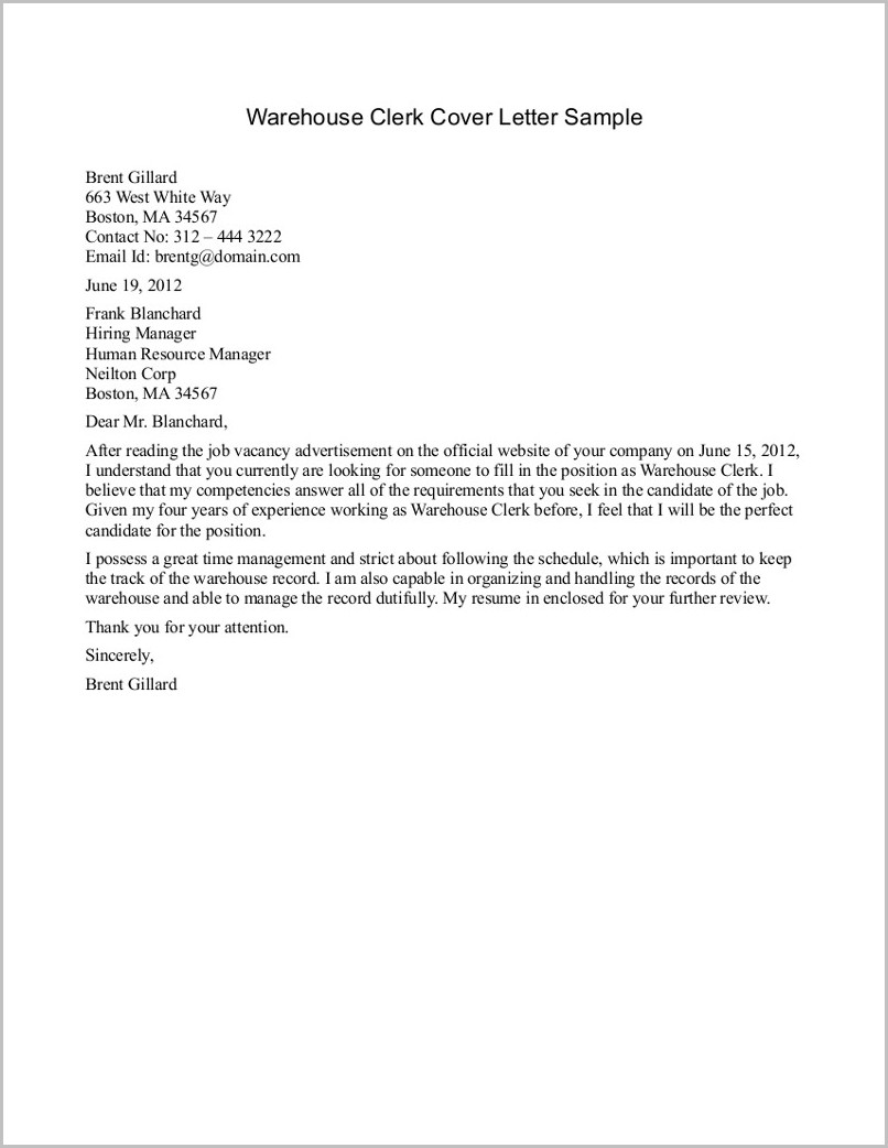 Cover Letter Examples For Resume Warehouse