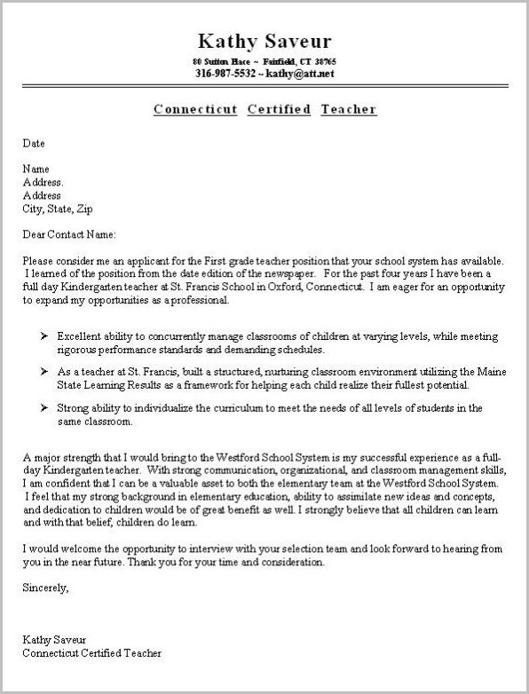 Cover Letter Examples For Teaching Resume