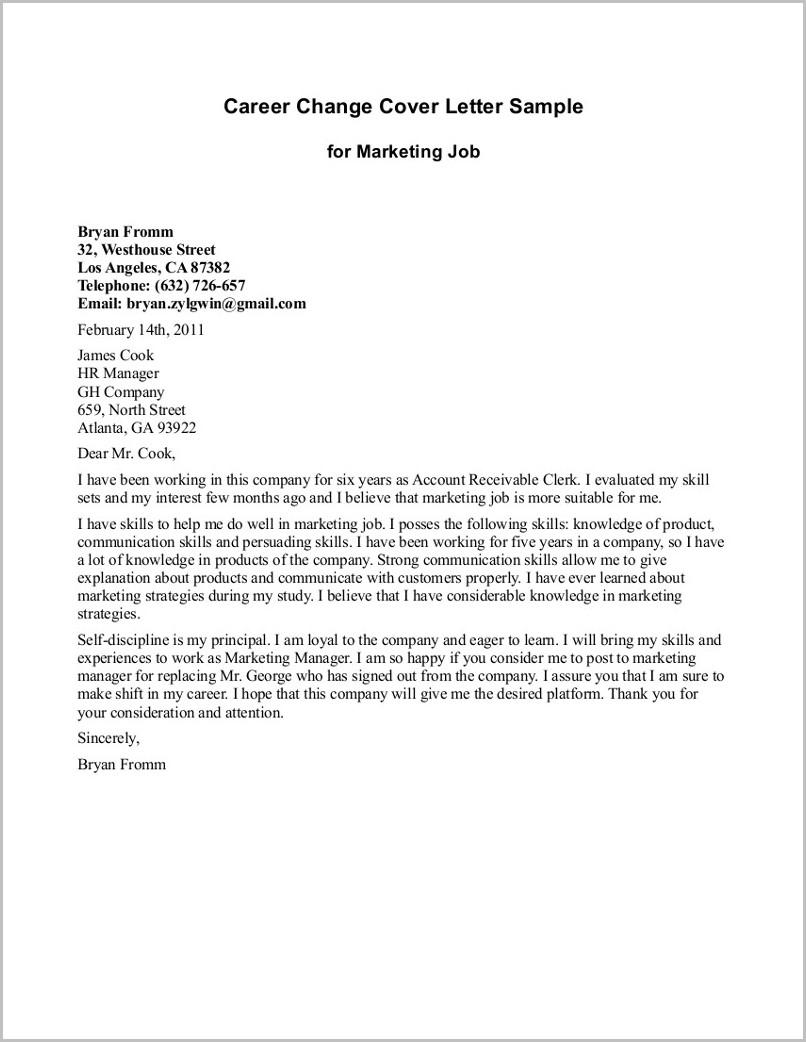 Cover Letter Explaining Career Change Examples