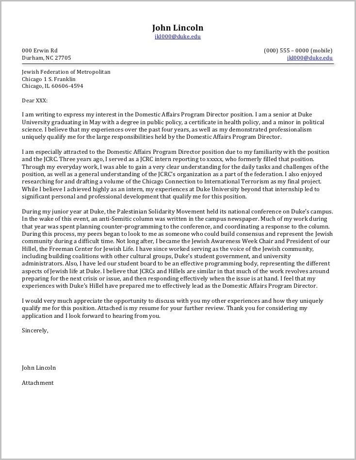 Cover Letter For Charity Job Example