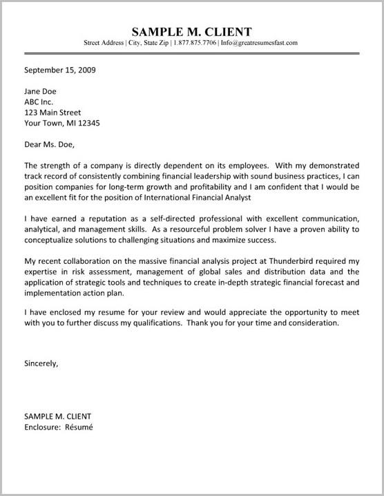 Cover Letter For Finance Job Example