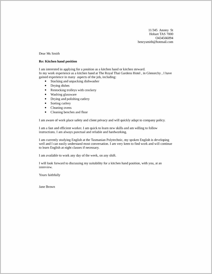Cover Letter For Kitchen Helper Job