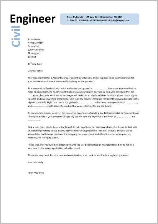 Cover Letter For Resume Civil Engineer