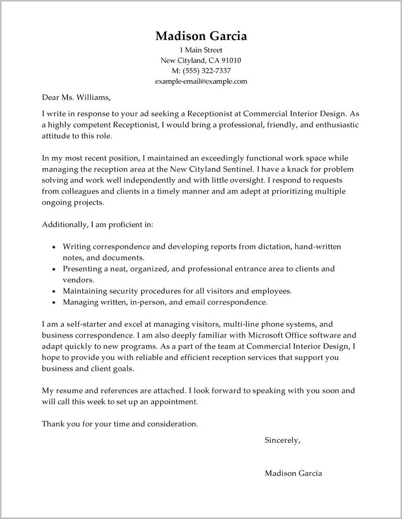 Cover Letter For Resume Examples For Receptionist