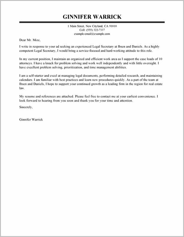 Cover Letter For Resume Legal Secretary