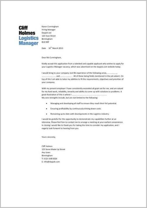 Cover Letter For Resume Logistics