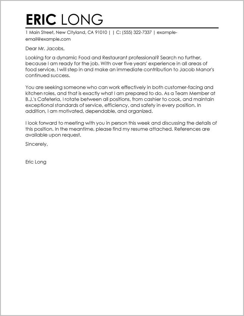 Cover Letter For Resume Restaurant
