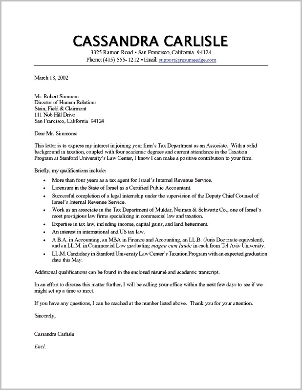 Cover Letter For Resume Sample Accountant